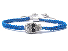 CRYSTAL SKULL AND BRAIDED YARN FRIENDSHIP BRACELET