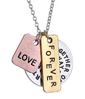 TOGETHER OR APART YOU ARE ALWAYS IN MY HEART TRIPLE LAYER PENDANT NECKLACE
