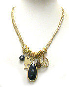 VINTAGE STYLE SEMI PRECIOUS STONE TEAR DROP PENDANT AND MULTI CHARM DANGLE NECKLACE
