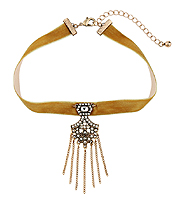 CRYSTAL PENDANT SUEDE CHOKER NECKLACE