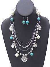 FOUR LAYER CHARM TURQUOISE STONE NECKLACE SET