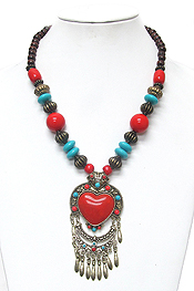 TIBETAN SILVER TEXTURE AND HEART TURQUOISE CHUNKY NECKLACE