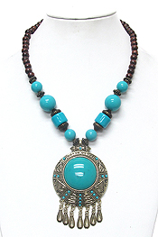 TIBETAN SILVER DISK AND CENTER TURQUOISE CHUNKY NECKLACE