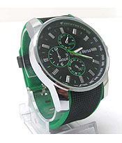 LARGE ROUND FACE COLOR EDGE RUBBEN BAND FASHION SPORTS WATCH