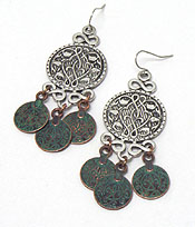 ANTIQUE THIN METAL BURNISH SILVER DISKS EARRINGS