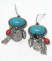 STONE AND CHARM HOOK EARRINGS - Wholesale Jewelry