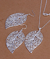 925 STERLING SILVER PLATED METAL FILIGREE LEAF NECKLACE SET