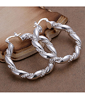 925 STERLING SILVER PLATED TWIST METAL HOOP EARRING