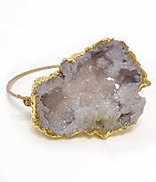 HANDMADE DRUZY AND SIDE GOLD PLATED BANGLE BRACELET