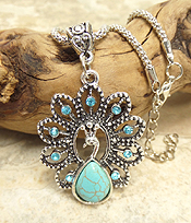 VINTAGE TIBET SILVER TURQUOISE AND CRYSTAL PEACOCK PENDANT NECKLACE