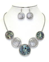 ABALONE AND METAL FILIGREE MIX DISC LINK NECKLACE SET