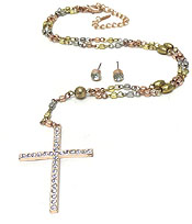METAL BEADS CROSS ROSARY NECKLACE SET