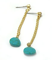 GENUINE SEMI PRECIOUS STONE DROP EARRINGS - TURQUOISE