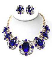LUXURY AUSTRIAN CRYSTAL AND FACET GLASS LINK PARTY NECKLACE SET