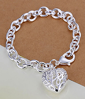 925 STERLING SILVER PLATED METAL FILIGREE PUFFY HEART CHARM BRACELET