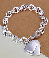 925 STERLING SILVER PLATED TIFFANY STYLE DOUBLE HEART CHARM BRACELET