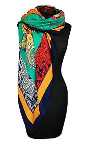 PAISLEY BORDER SQUARE SCARF