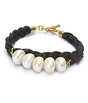 FRESH WATER PEARL AND WOVEN LEATHERETTE TOGGLE BRACELET
