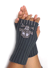 CRYSTAL SKULL KNIT OPEN FINGERTIP GLOVE