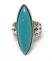 THIN SHAPE STONE METAL TEXTURED RING