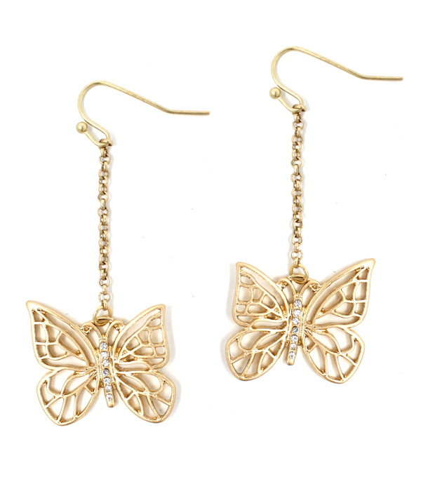 METAL FILIGREE BUTTERFLY DROP EARRING