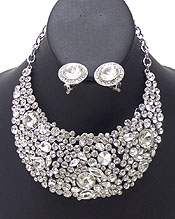 LUXURY CLASS VICTORIAN STYLE AND AUSTRIAN CRYSTAL DECO PARTY BIB NECKLACE EARRING SET