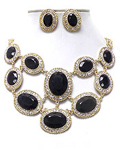 LUXURY AUSTRIAN CRYSTAL DECO OVAL FACET GLASS STONE PARTY NECKLACE EARRING SET