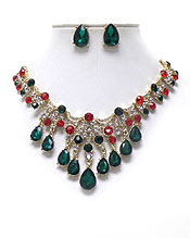 LUXURY CLASS VICTORIAN STYLE AND AUSTRIAN CRYSTAL DECO PARTY NECKLACE EARRING SET