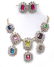 LUXURY AUSTRIAN CRYSTAL DECO AND FACET GLASS DROP PARTY NECKLACE EARRING SET