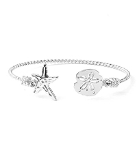 SEALIFE THEME WIRE BANGLE BRACELET - STARFISH AND SAND DOLLAR