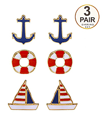 SEALIFE THEME 3 PAIR EARRING SET - ANCHOR YACHT LIFE SAVER