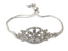 CRYSTAL FASHION OVAL WITH FLOWER INSIDE AND METAL CORD FRIENDSHIP BRACELET