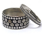 METAL STUD METAL BANGLE SET OF THREE