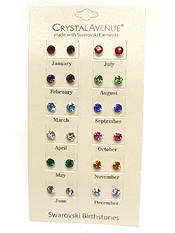 SWAROVSKI BIRTHSTONE EARRING SET OF 12