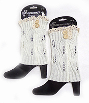 BUTTON AND LACE VINTAGE CROCHET LEG WARMER BOOT CUFFS