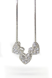 WHITEGOLD PLATING CRYSTAL TRIPLE SMALL HEART NECKLACE