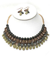 MULTI FACET ACRYLIC TEARDROPS STATEMENT NECKLACE SET