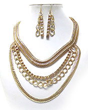 MUTI THICK LAYERED CHAIN NECKLACE SET