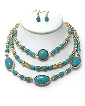 THREE LAYER STONE NECKLACE SET