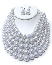 FIVE ROW GRADUAL PEARL NECKLACE SET