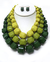 LARGE THREE ROW GRADUAL BEADS NECKLACE SET