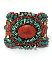 HANDMADE MULTI SEED BEADS BOHEMIAN BANGLE BRACELET - BRASS