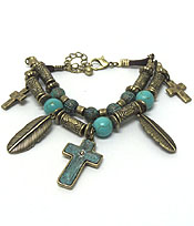 CROSS AND FEATHER CHARM BOHEMIAN STYLE BRACELET