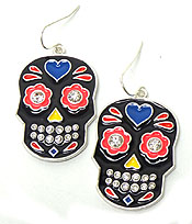 CRYSTAL AND EPOXY SUGAR SKULL EARRING