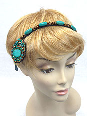HANDMADE MULTI SEED BEADS STRETCH HEADBAND AND DANGLE DROP