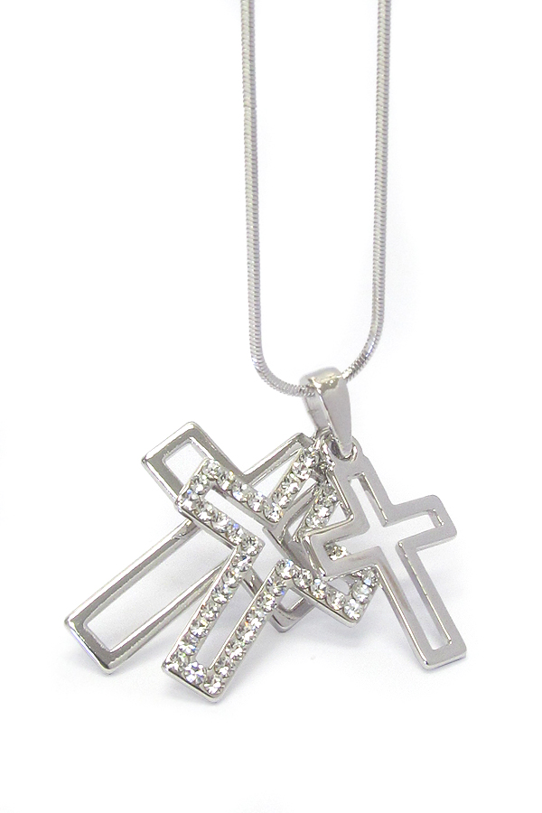 WHITEGOLD PLATING TRIPLE CRYSTAL CROSS NECKLACE