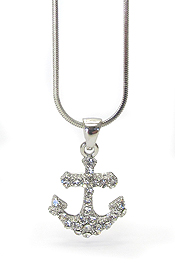 WHITEGOLD PLATING TRI CRYSTAL ANCHOR PENDANT NECKLACE