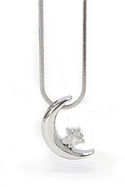 WHITEGOLD PLATING CRYSTAL MOON AND STAR PENDANT NECKLACE