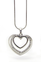 WHITEGOLD PLATING TRIPLE CRYSTAL HEART NECKLACE