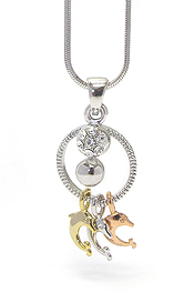 WHITEGOLD PLATING CRYSTAL DOLPHINS PENDANT NECKLACE